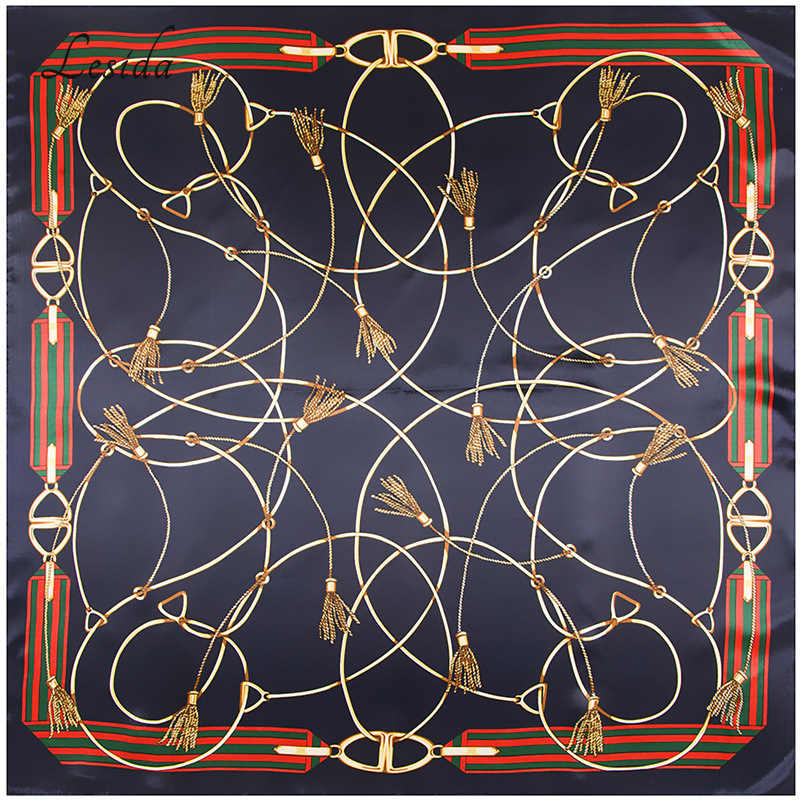 2018 Fashion Joker Women Silk Square Scarf Desigual Head Scarf Bandana Կանանց մեծ նմուշ Շարֆեր Wholeshale 90 * 90CM 9104M