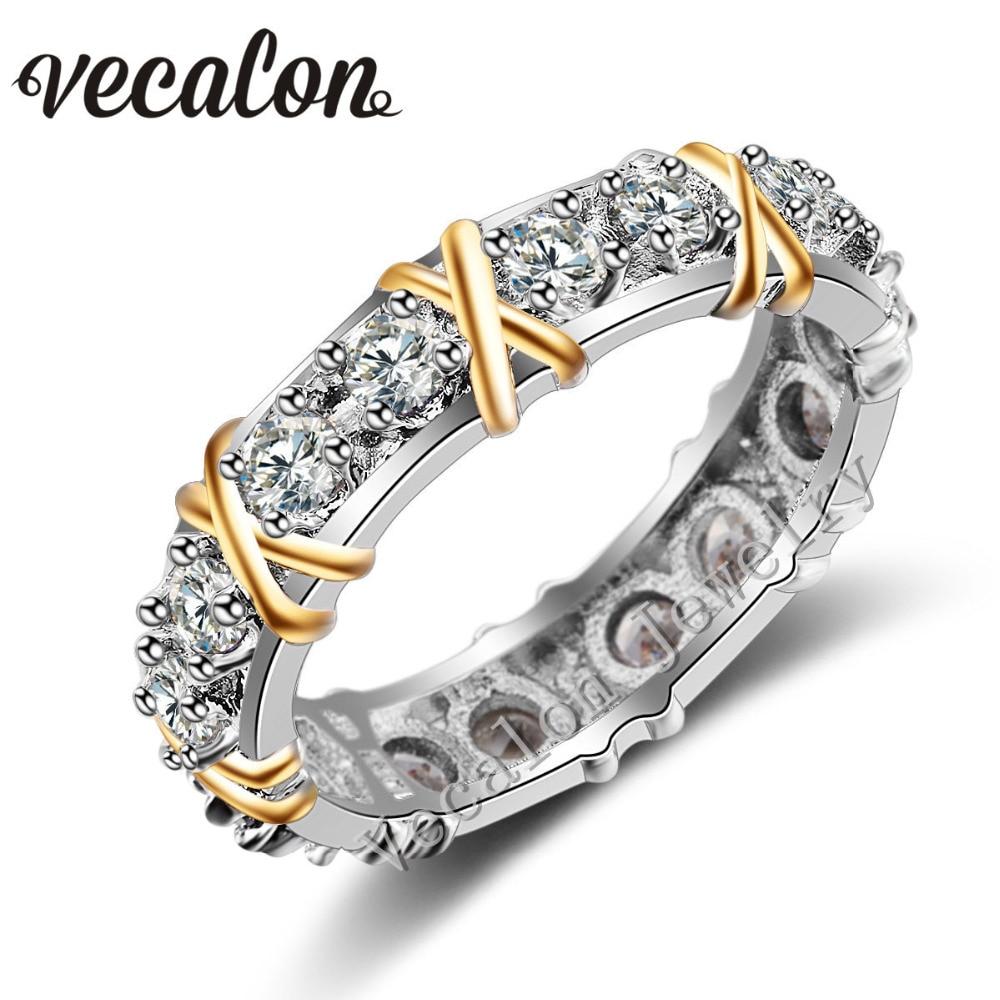 Vecalon 3 couleurs Bijou AAAAA Zircon Cz Engagement Band anneau De Mariage pour les Femmes 10KT Blanc Jaune Or Rempli bague de Femme