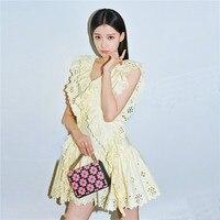 Sun Yi summer new falbala sleeveless hollow out a particular temperament accept waist pleated G04108 pure color dress
