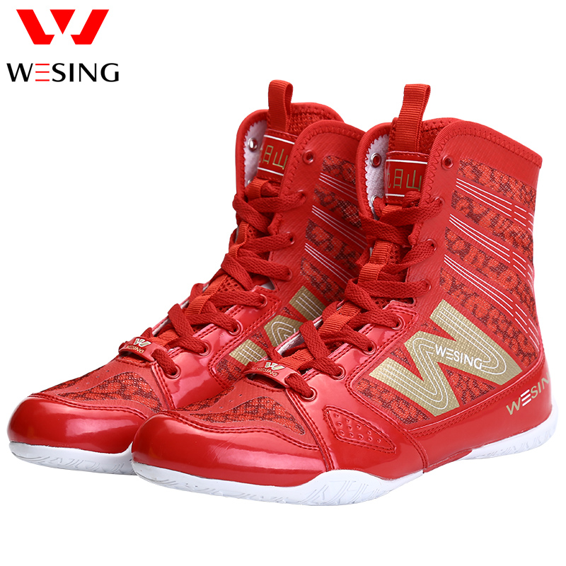 Wesing Professional Boxing Training Shoes for Athletes Anti slip High Ankle Shoes Boxing Equipment Fitness Shoes