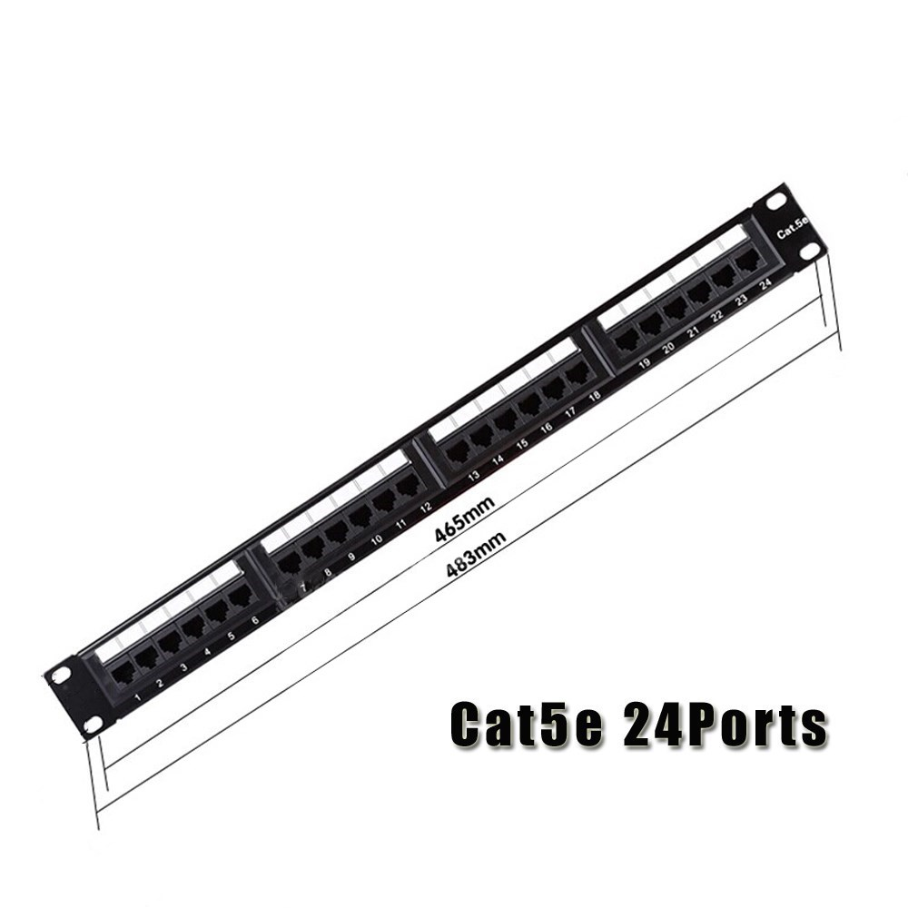 cat5e utp 24port rj45 network cable patch panel 1u 19
