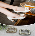 Free shipping (6 PCS/lot) Diamond  pearl gold silver square buckle shoes clip DIY craft shoe buckle hardware metal buckle