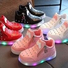 Обувь с подсветкой для мальчиков и девочек; модный светильник; Повседневная обувь; стразы; светящаяся мягкая подошва; светящаяся детская обувь