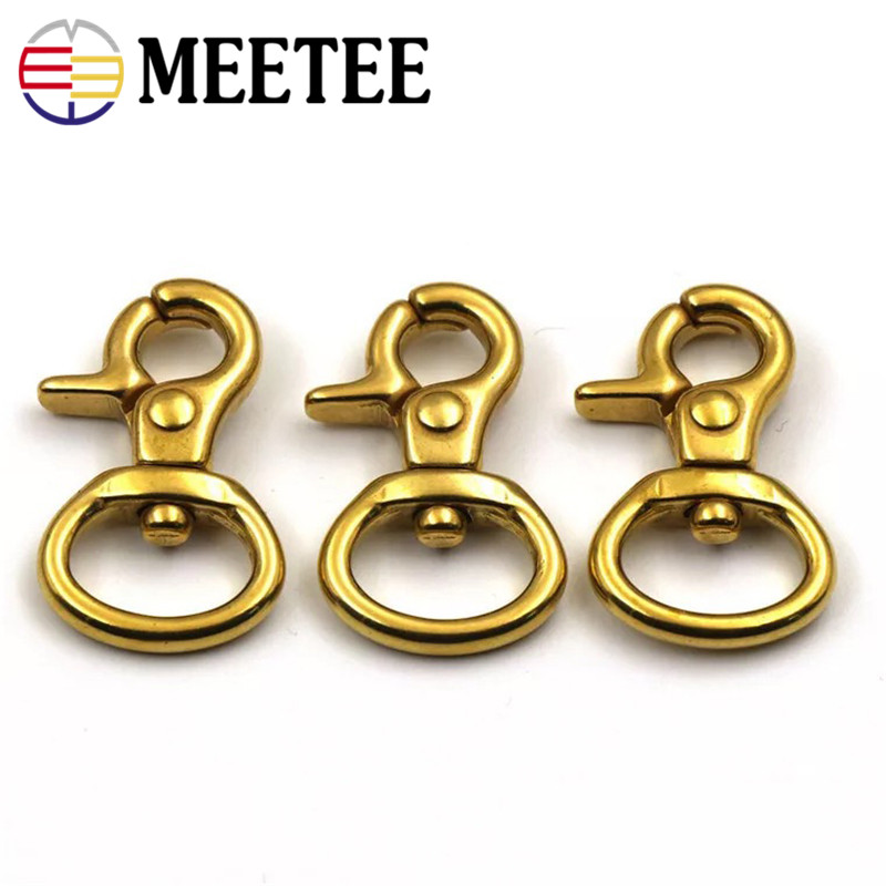 MEETEE 4pcs Sale copper buckle Metal brass Handles For Handbags Bag Accessories pants Hook Clasp Dog With Hardware Hooks ZK878