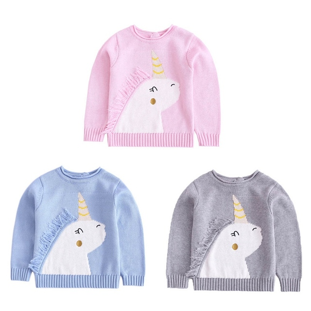 ada9012bac15 2018 Spring Autumn Baby Sweaters Fashion Unicorn Pullover Knit ...