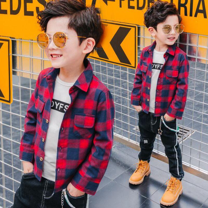 2018 Fashion Casual Teenage Fall Spring Kids Shirts Boys ...