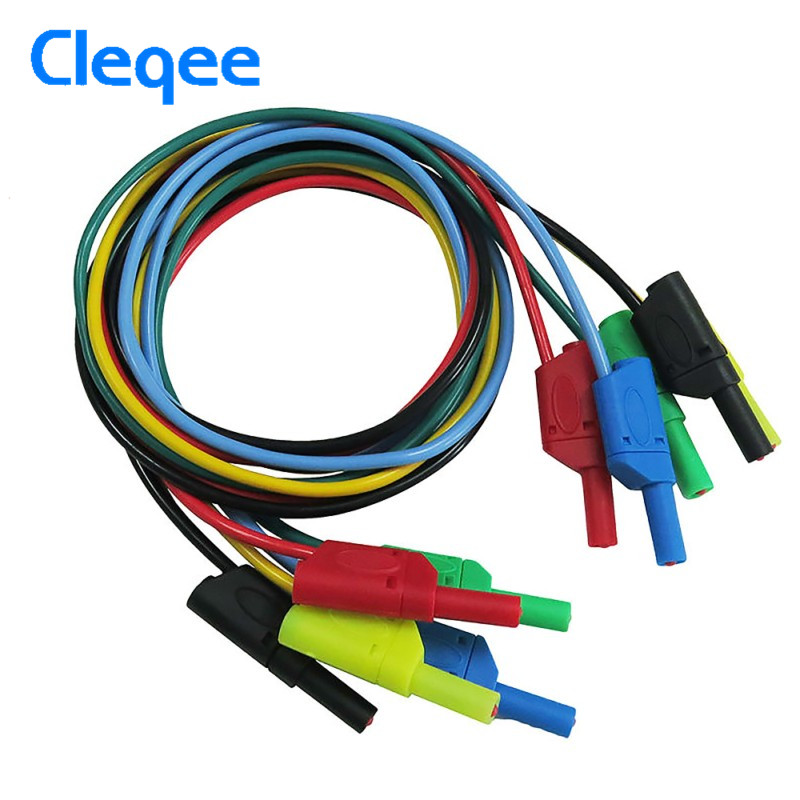 Cleqee P1050 1M 4mm Banana to Banana Plug Soft Silicone Test Cable Lead for Multimeter Testing Electronic Equipment 5 Colours cleqee p1036a 4mm banana to banana plug test lead kit for multimeter cable match alligator clip