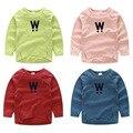 Outono Meninos da menina do Algodão Da Forma T-shirt da marca de manga longa Estilo Europeu bebê crianças Treino tees roupas Sólida camisa da cor