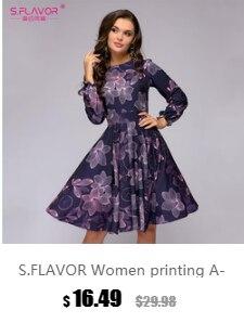 8a18e529e3a743 S.FLAVOR Women Elegent A-line Dress 2018 Vintage printing party ...