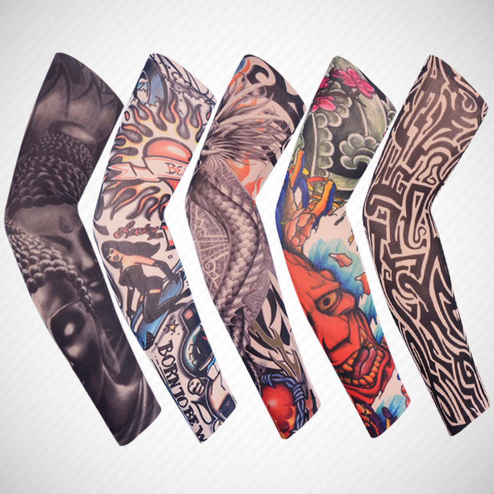 1PCS Fashion 3D Tattoo Printed Arm Warmers Unisex Outdoor Cycling Sleeves Arms UV Protection Sleeves Holder Cartoon Arm Cover