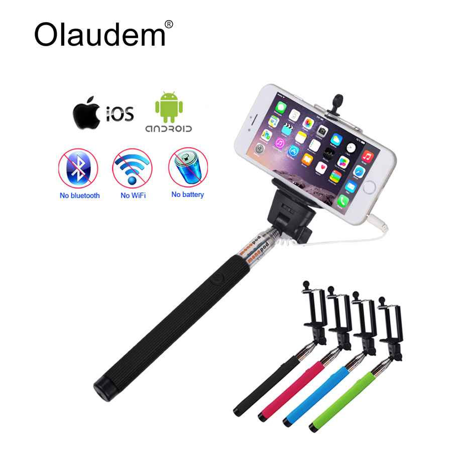 Universal New Wired Selfie Stick Self Stand Photos Extendable Selfy Monopod For iPhone Samsung Xiaomi Smartphone Camera SS-118B
