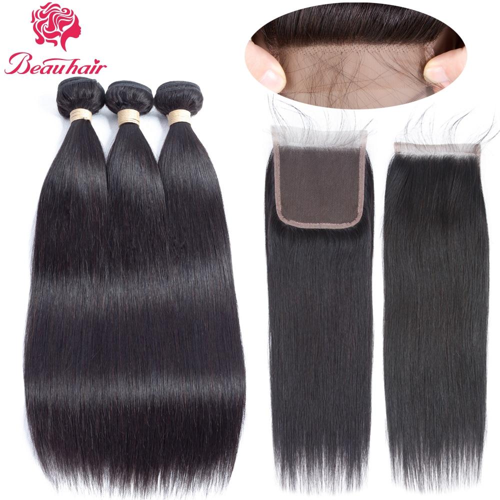 Beau Hair Products Human Hair Bundles Lace Closure Non Remy Hair Weft - Skönhet och hälsa