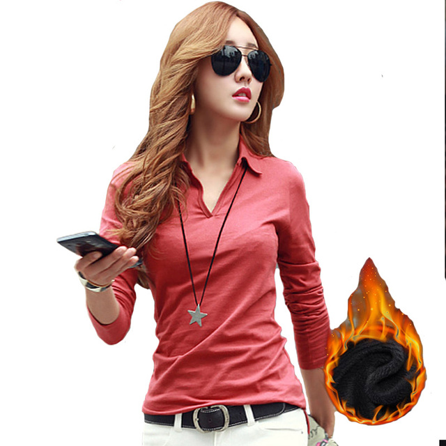 Winter Warm Casual Polo Women 2016 Long Sleeve Slim Polos Mujer Black White Gray Red Autumn Tops Plus Size Polo Shirt Femme A728
