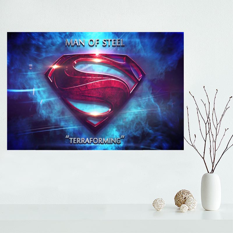 Custom Canvas Superman <font><b>logo</b></font> <font><b>Poster</b></font> Art Decoration <font><b>Poster</b></font> Cloth Fabric Wall <font><b>Poster</b></font> Print Silk Fabric &Q0035K image