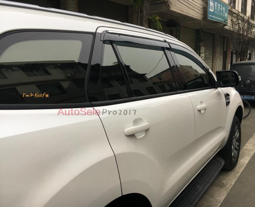 Engineering plastics Chrome Strip Window Visor Vent Shades Sun Rain Guard 4pcs for Ford  ...