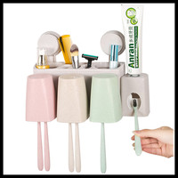 Creative Bathroom Accessories Set Wheat Straw Toothbrush Holder Wall Suction Hooks Shelving Toothpaste Storage Box