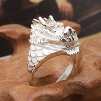 990 sterling silver ring men's dragon Bibcock ring ring personality Men domineering Lettering manual accessories