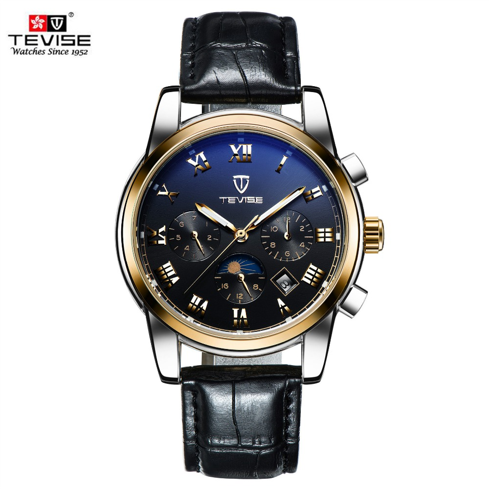TEVISE Moon Phase Automatic Men Mechanical Watch Luxury Mens Business genuine Leather strap Watches Male Clock Gold Reloj Hombre tevise men automatic self wind mechanical wristwatches business stainless steel moon phase tourbillon luxury watch clock t805d