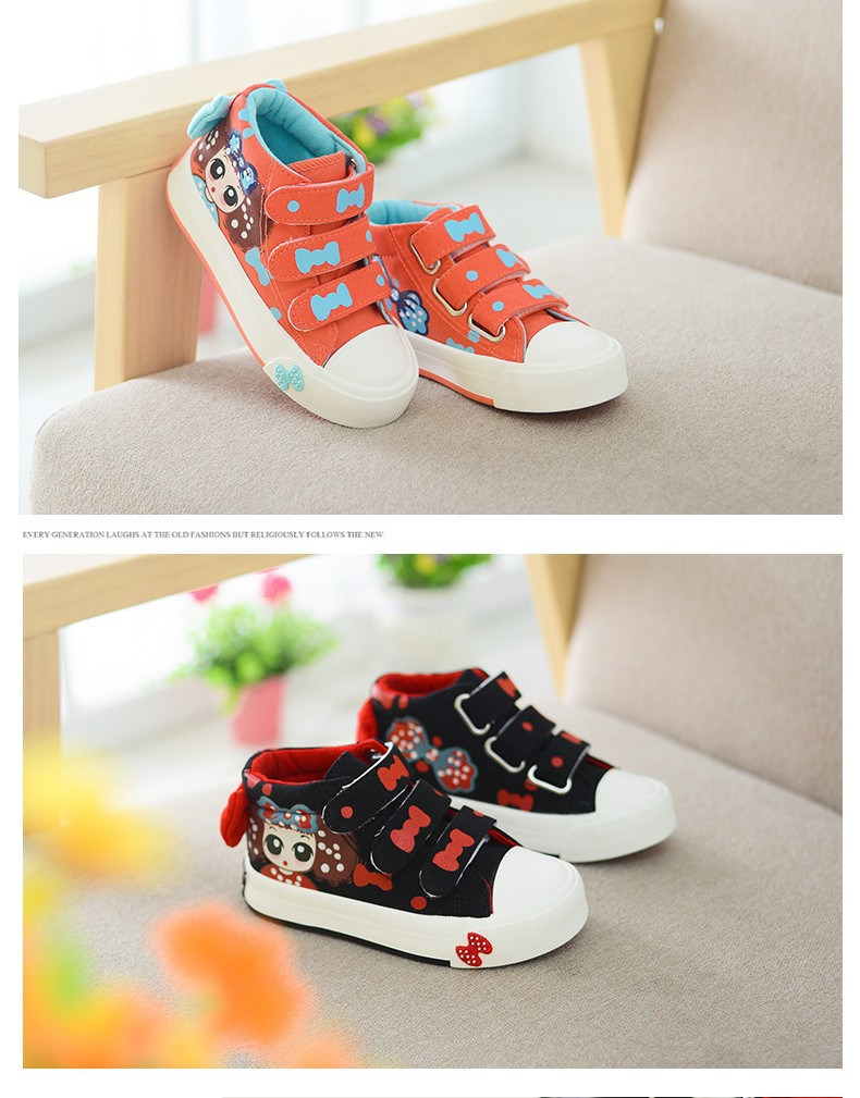 17 New Canvas Children Sneakers Bowknot Baby Girls Princess Shoes Denim Kids Sneakers Polka Dot Flat Boots for Girls 6