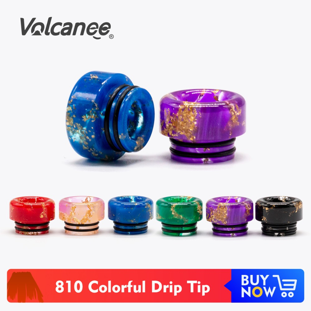 Volcanee 810 Shinning Drip Tip Black Gold Red Color Driptip For Kennedy 24 V12 RTA RDA Atomizer Vape Accessories Mouthpiece