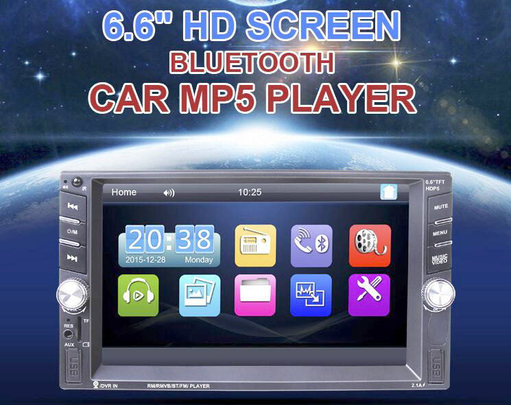2 Din car radio Player(NO android/ GPS navigation) Bluetooth Stereo FM MP3 Audio USB Auto Electronics autoradio Steering Wheel