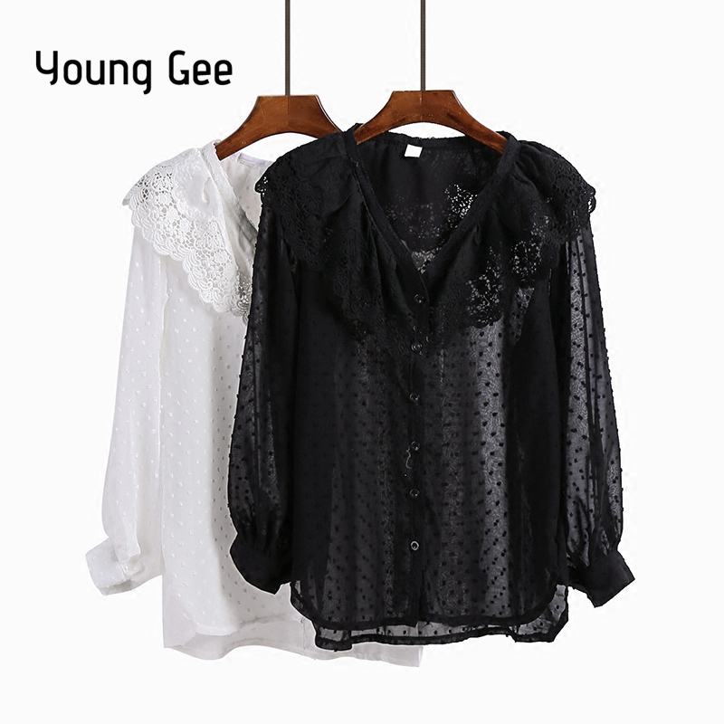 Young Gee Sweat Dots Lace V-neck Ruffles Blouse Women Lantern Cardigan 2018 Fringed Hem Oversize Tops Outwear blusas femininas