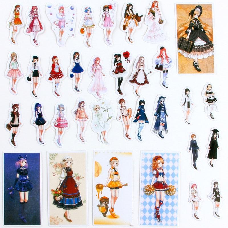 5packs / lot חמוד מדבקה יופי בנות מדבקות - צעצועים קלאסיים