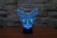 New Typs Creative 7 Color Change Cat Animal Night Light 3D Acrylic Night Light Touch USB