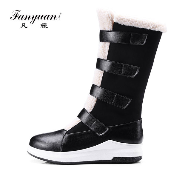 Plush Mix-Color Platform Hook&Loop Knee-Hight Warm Boots For Women