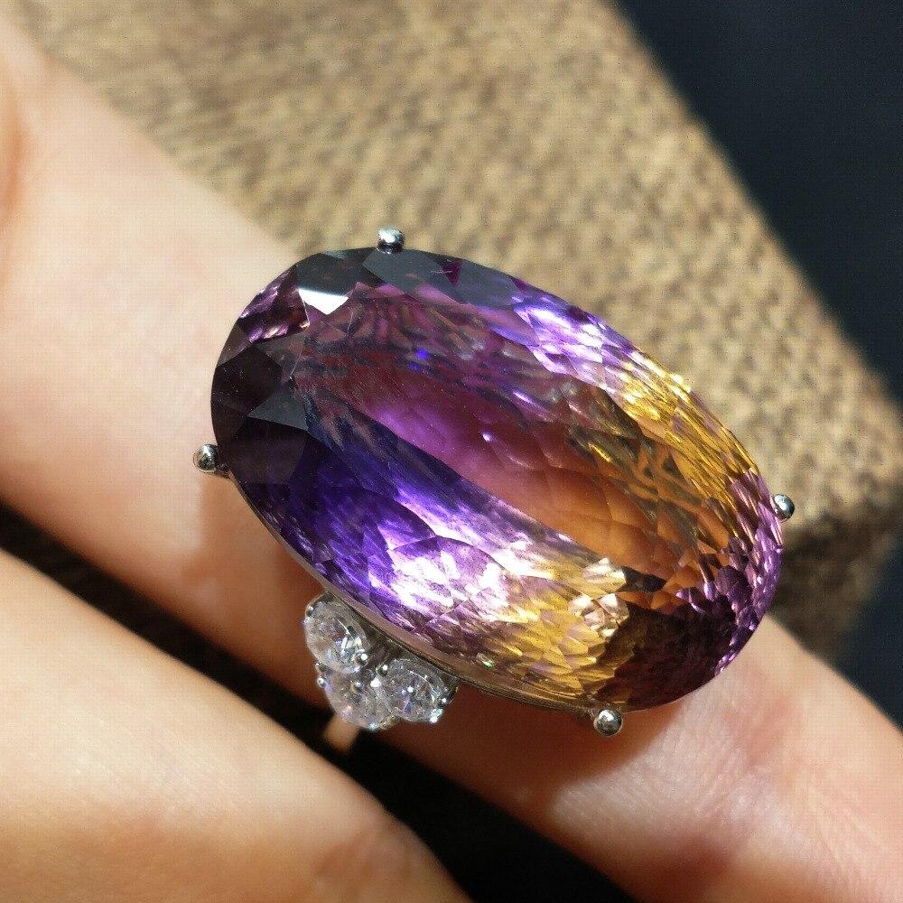 FLZB, grote enorme hyperbool ring 100% natuurlijke Ametrine edelsteen 28ct ov 16*25mm in 925 sterling zilver met 18 k gold luxe ring-in Ringen van Sieraden & accessoires op  Groep 3