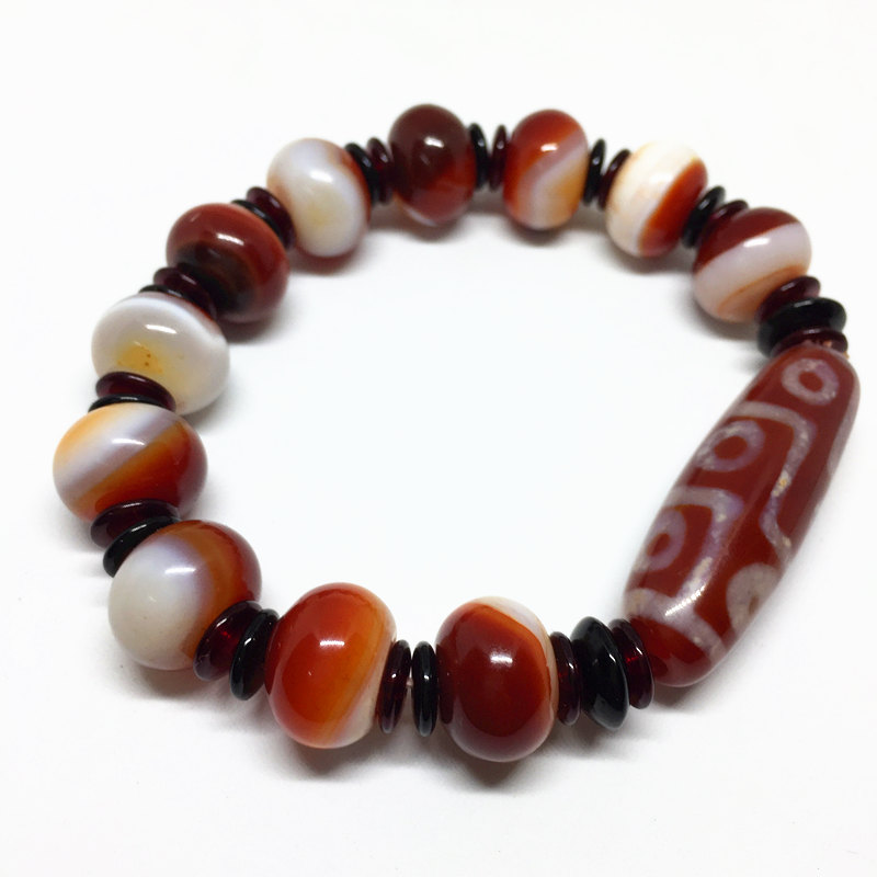 Top Selling Elastic Agate Bracelet 9 Eyes Dzi Beads Amulet with Natural strip Agate Bracelet for Men and Women free shipping