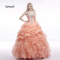 Setwell Sexy V Neck Quinceanera Dresses 2017 Shining Crystal Sequin Quinceanera Gowns Illusion Back Quinceanera Dress