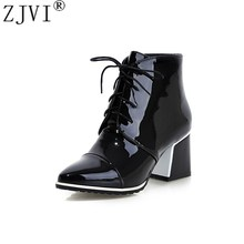 ZJVI womens Patent PU women fashion boots winter autumn woman Lace up Pointed Toe ankle boots ladies square high heels shoes