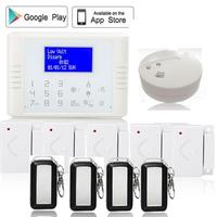 Ruso Francés English433MHz pantalla táctil de control App pstn gsm de doble red de alarma antirrobo antirrobo detector de humo sensor de puerta