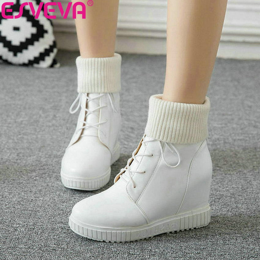 ESVEVA 2019 Wedges Heels Women Boots Lace Up All Match Platform Winter Shoes Ankle Boots Height Increasing Woman Shoes 34-43 цены онлайн