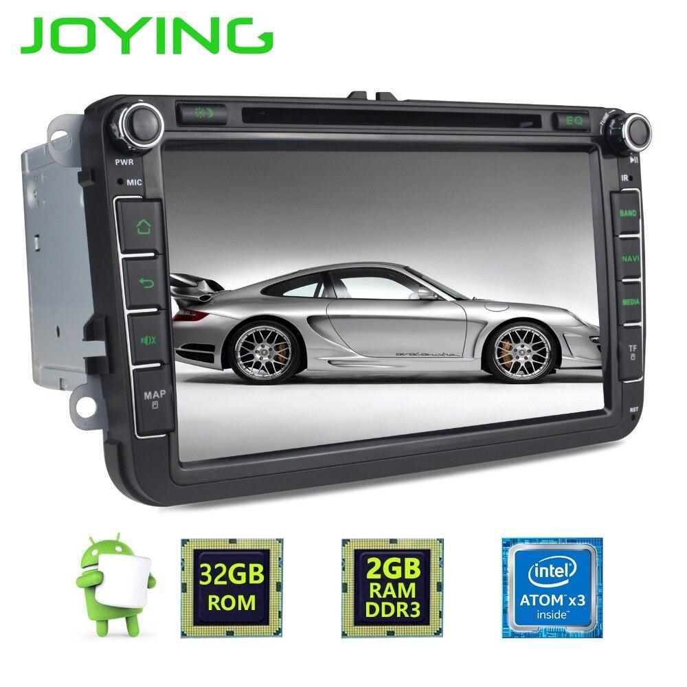 Joying 2 Din Android 6.0 Quad Core 2GB+32GB 1024*600 Car Stereo Radio GPS Navigation For VW Skoda POLO GOLF PASSAT CC Head Unit joying 7 double 2 din android 6 0 universal car radio quad core 1024 600 hd car gps navigation best head unit car pc