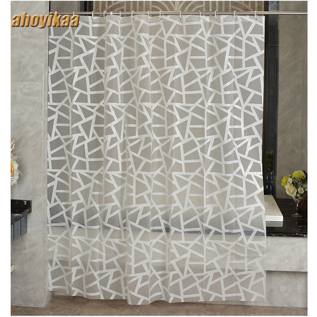 Modern Bath Screens Triangular Pattern Printing Shower Curtain ...