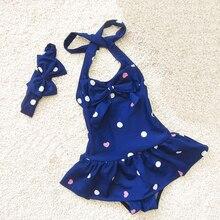 Dollplus Kids Swimwear for Girls One Piece Summer Bikini Suits Girls Beach Sport Bodysuit Dot Print Kid Bathing Suit Swimsuit цена