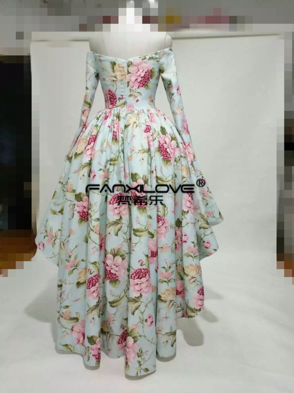 Fanxilove Arabic Dubai Print Flower Material Long Sleeve Ball Gown High to Low  Charming Charming Formal Retro Evening Prom Dress-in Prom Dresses from ... f7f2fb3347bb