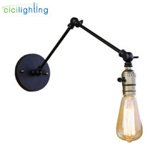 Black 25+25cm double swing adjustable arm shadeless wall lights minimalist knob switch home office industrial warehouse lamp