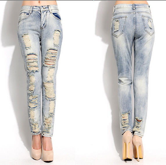 Online Shop ripped jeans for women fashion designer light blue ...