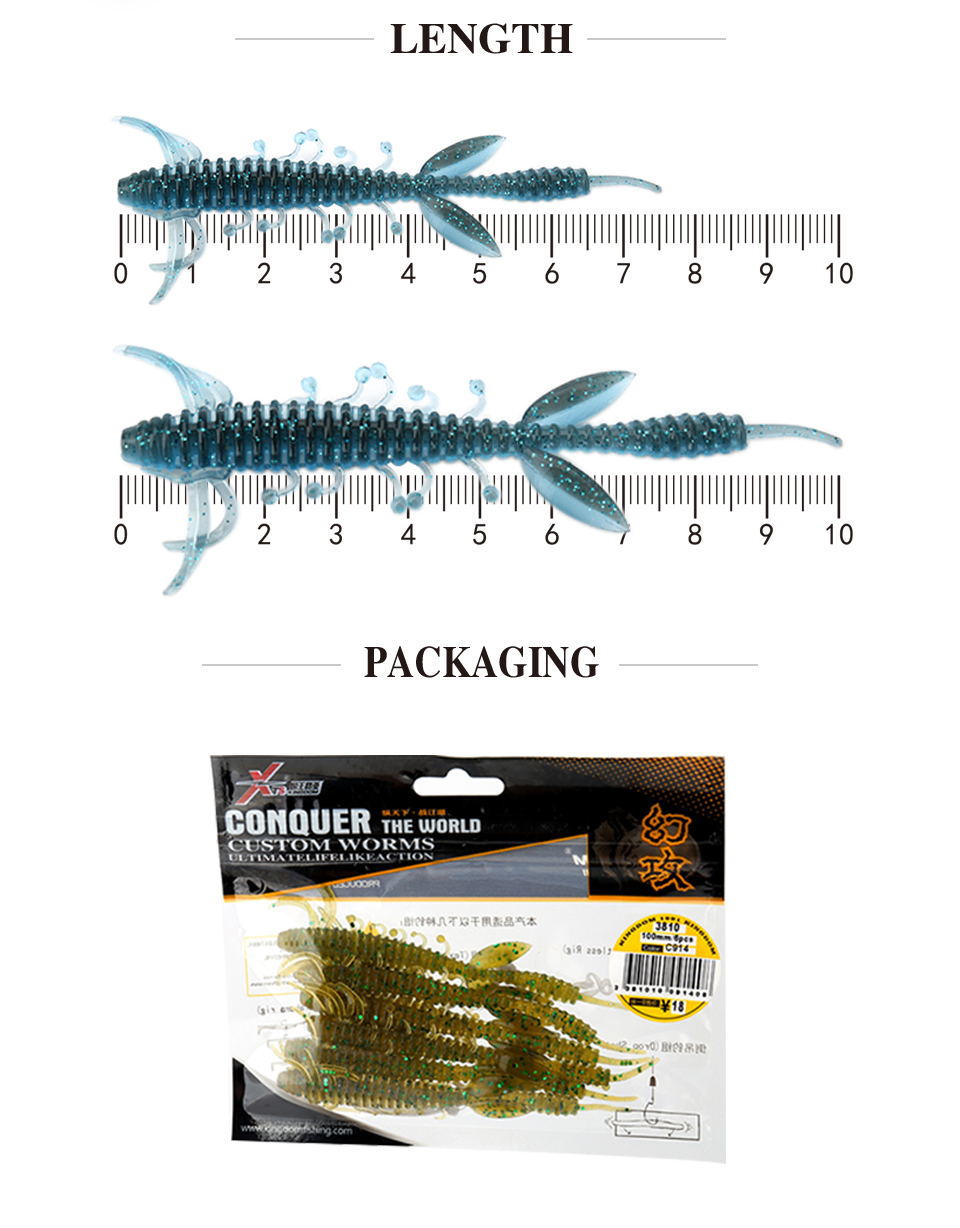 Kingdom Fishing lures 7.5cm 1.4g 10cm 3.25g 6pcs/bag high quality Artificial Bait silicone soft lure 5 color model 3810 9