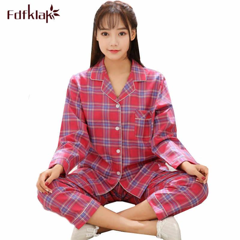 Fdfklak New plaid winter pyjamas women pajamas set cotton long sleeve  sleepwear home suit student s pajama 30c4c3ac9
