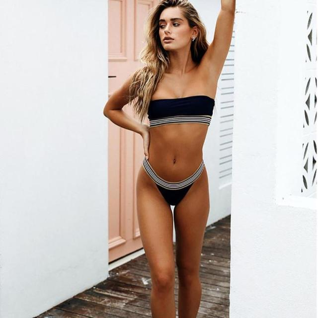 Stripe Trim Bandeau High Cut Bikini 1