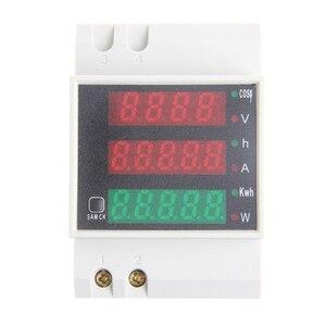 Din Rail Multifunctionele Digitale Meter Ac 80-300V 0-100A Actieve Power Factor Elektrische Energie Ampèremeter Voltmeter led Display Panel
