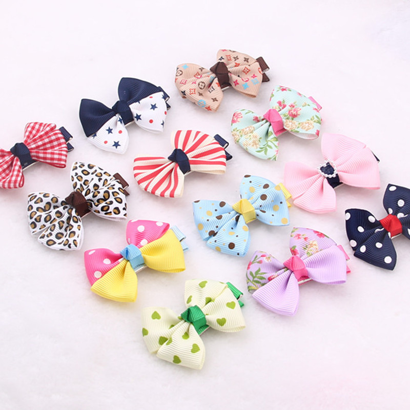 5pcs//set Hot Lovely Toddler Girl Cartoon Hair Clip Bow Baby Kid Bowknot Headwear