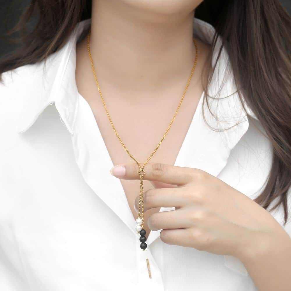 Naturalne perły Lava Rock naszyjnik z koralików naszyjnik dla mężczyzna kobiet OLEJEK ETERYCZNY dyfuzor kolor złoty łańcuch ze stali nierdzewnej HDN109