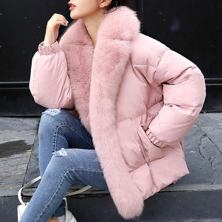 Winter loger luxurious big real fox fur collar hooded duck   down     coat   female with pockets design thicker warm   down     coats   wq697