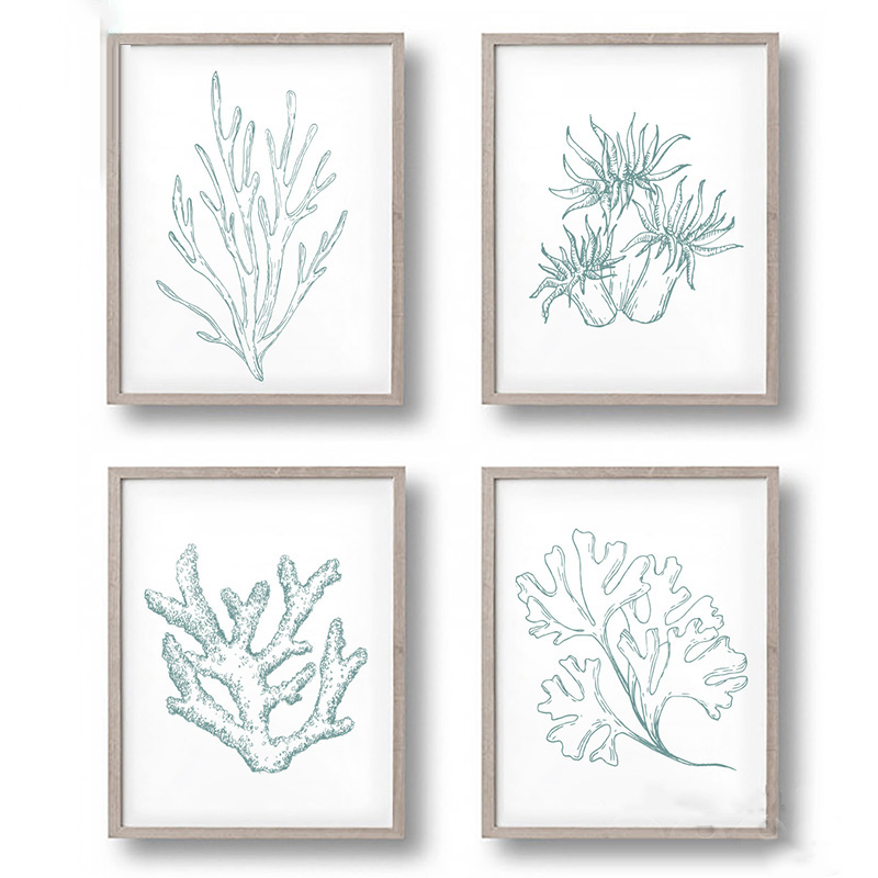 Poster Coral Wall-Pictures Print Painting Canvas Art Sea-Life-Plant Home-Decoration Unframed