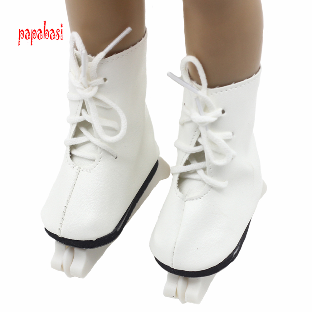 White Roller skates shoes For 18 45CM American Girls Dolls Snow skating sport Boots for Alexander doll accessory baby girl gift girls and ladies favorite white roller skates with full grain genuine leather dual lane roller skate shoes for adult skating